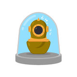 Ancient diving suit in Glass bell. Underwater suit in laboratory Royalty Free Stock Photo