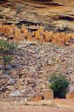 Ancient Dogon and Tellem houses with sheep Stock Image