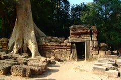 Ancient door   Angkor Wat. Ancient door  in the temple of Angkor Wat Royalty Free Stock Photography