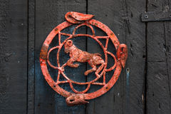 Ancient door detail depicting a ram Stock Images