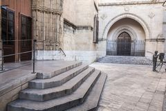 Ancient door entrance to co-cathedral of Saint Mary, valencian. Gothic style.Castellon,Spain Royalty Free Stock Image