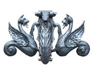 Ancient door knocker isolated on white background.  royalty free stock photo