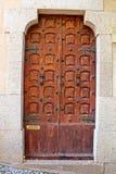 Ancient door in old castle in Tossa de Mar Stock Image