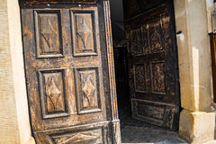 Ancient door of the Polish Cultural centre in Krakow Poland Stock Image