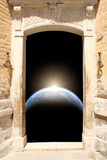Ancient door and space scene Stock Photography
