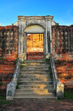 Ancient Door and stair in ayutthaya Stock Photo