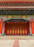 Ancient door and traditional Chinese Temple building Royalty Free Stock Photo