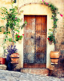 Ancient door in Valldemossa stock image
