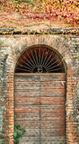 Ancient doorway. Arched doorway surrounded by aging brick and ivy. Taken in Rocca Grimalda, Italy Stock Photos