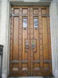 Ancient Doorway. Ancient Church Doors with Cast Iron Effects and Handles Royalty Free Stock Photos