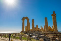 Ancient doric architecture of Acropolis Temple of Juno. Valley of the Temples in Agrigento on Sicily. Italy. Tourist place royalty free stock photos