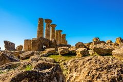 Ancient Doric Columns building Architecture Of ruins of Greek Temple in Sicily stock images