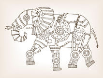 Ancient draft of mechanical elephant vector. Ancient draft of mechanical elephant. Mechanical animal. Coloring book vector illustration Stock Photos