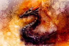 Ancient dragon and ornament and Softly blurred watercolor background. Ancient dragon and ornament and Softly blurred watercolor background Stock Photos
