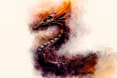 Ancient dragon and Softly blurred watercolor background. Ancient dragon and Softly blurred watercolor background Stock Photos