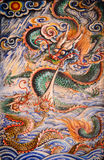 Ancient dragons design on wall background in chinese temple at P Royalty Free Stock Photo