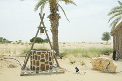 Ancient draw-well in the desert near the palm tree Stock Photo