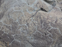 The ancient drawings on rocks Altai Stock Photos