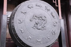 Ancient drum. Chinese ancient drum with twelve signs Royalty Free Stock Photos