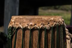 Ancient drums made of animal skins stock photography