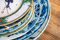 Ancient Dutch dishware from Delft Royalty Free Stock Images