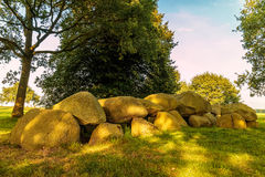 Ancient Dutch megalithic tomb dolmen hunebed. Ancient megalithic tomb dolmen hunebed in the Dutch province of Drenthe Stock Image