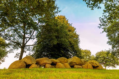 Ancient Dutch megalithic tomb dolmen hunebed. Ancient megalithic tomb dolmen hunebed in the Dutch province of Drenthe Stock Images