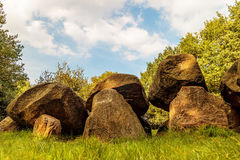 Ancient Dutch megalithic tomb dolmen hunebed. Ancient megalithic tomb dolmen hunebed in the Dutch province of Drenthe Royalty Free Stock Images