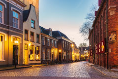 Ancient Dutch street in the city of Doesburg Royalty Free Stock Photo