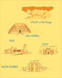 Ancient Egypt. Illustration of some anciet Egypt monuments vector illustration