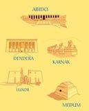Ancient Egypt. Illustration of some anciet Egypt monuments stock illustration