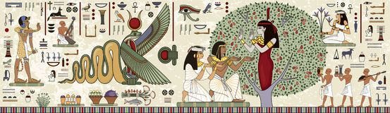 Ancient egypt background.Egyptian hieroglyph. And symbolAncient culture sing and symbol.Historical background.Ancient goddess stock illustration