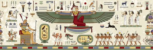 Ancient egypt background.Egyptian hieroglyph and symbol. Ancient culture sing and symbol.Murals with ancient egypt scene stock illustration