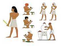 Ancient Egypt ceramists at work. Egyptian ceramics manufacturing. Royalty Free Stock Photography