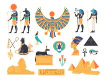 Ancient Egypt collection - gods, deities and mythological creatures from Egyptian mythology and religion, sacred animals. Symbols, architecture and sculpture stock illustration
