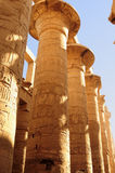 Ancient Egypt. The columns are decorated with carved hieroglyphs. Karnak Temple. Royalty Free Stock Image