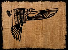Ancient Egypt Eagle on papyrus paper. Ancient Egyptian Eagle on papyrus paper Royalty Free Stock Photo