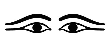 Ancient Egypt eyes with long eye lids Royalty Free Stock Photos