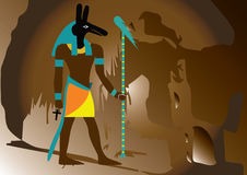 Ancient egypt god. In side of the hill Stock Photos