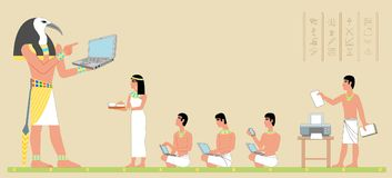 Ancient Egypt God Thoth gives knowledge. The God of the Moon, Wisdom and Time teaches people. Men write down knowledge, the woman brought food. Many layers, all Stock Images