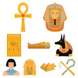Ancient Egypt set icons in cartoon style. Big collection of ancient Egypt vector symbol stock illustration Royalty Free Stock Photo