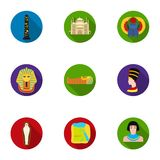 Ancient Egypt set icons in flat style. Big collection of ancient Egypt vector symbol stock illustration Stock Image