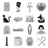 Ancient Egypt set icons in monochrome style. Big collection of ancient Egypt vector symbol stock illustration Royalty Free Stock Photos