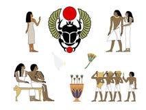 Ancient Egypt set of illustration, group of people. Egypt murals, Ancient Egypt people, people of the Nyle stock illustration