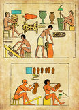 Ancient Egypt shoemaker and workers tanning leather. Collage and painted elaboration from engravings middle '800, representing Ancient Egypt workers tanning and Royalty Free Stock Photos