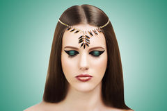 Ancient Egypt Style Nefertiti Cleopatra Beauty Stock Photos
