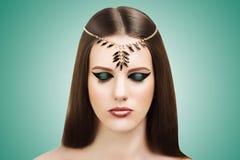 Ancient Egypt Style Nefertiti Cleopatra Beauty. Portrait of a beautiful young girl. Beautiful mysterious sexy stylish look. Beauty east. Egypt. Queen Nefertiti Stock Photos