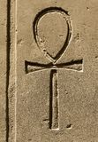 Ancient egypt symbol Ankh carved on the stone. Ancient egypt symbol Ankh `Key of Life`, `Eternal Life`, `Egyptian Cross` carved on the stone in the Karnak Temple royalty free stock images