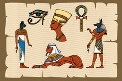 Ancient Egypt symbols on papyrus Stock Photos