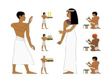 Ancient Egypt set of illustration, noblewoman and trader. Egypt murals, Ancient Egypt people, people of the Nyle royalty free stock images